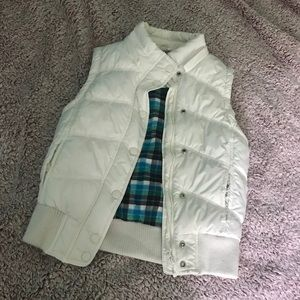 Aeropostale White Vest with Blue Plaid Inside